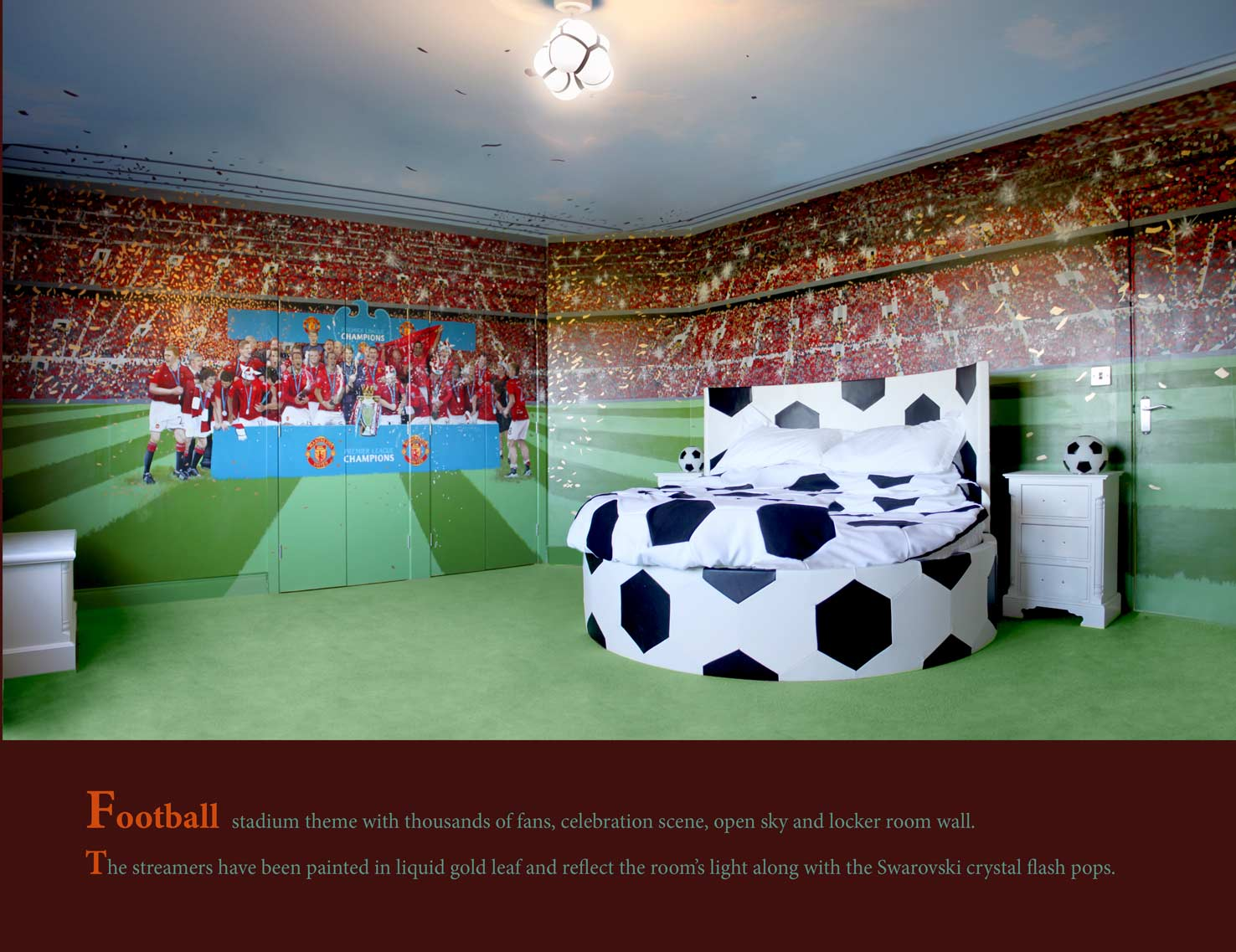 Football themed rooms soccer bedroom and soccer on pinterest for Girls murals